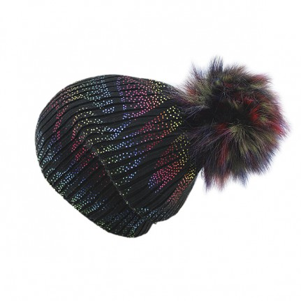 Шапка женская SELFIE CZD 3 REZINKA BLACK VOLNA RGB 418130 PAL-Y (на флисе)+(иск. помпон) - Фото